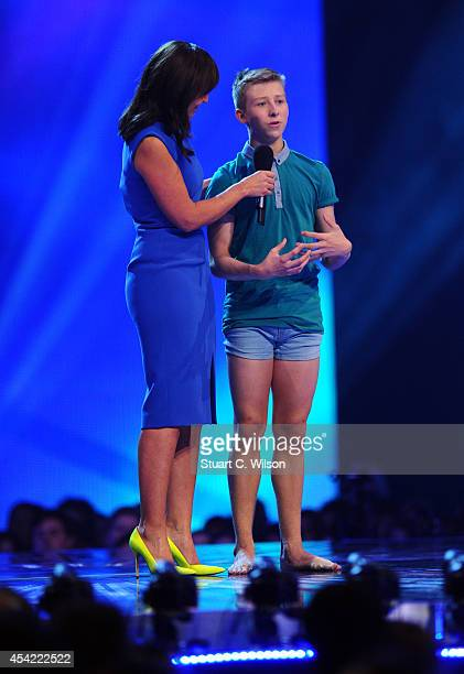 """Davina McCall announces Kaine Ward as a finalist during the second live show of 2014's """"Got To Dance"""" at Earls Court on August 26, 2014 in London,..."""