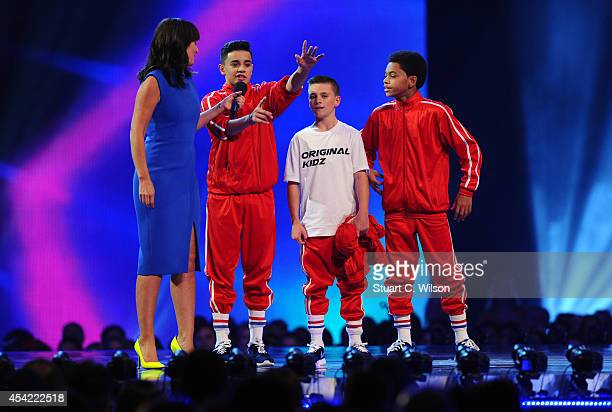 """Davina McCall announces the 'Original Kidz' as finalist's during the second live show of 2014's """"Got To Dance"""" at Earls Court on August 26, 2014 in..."""