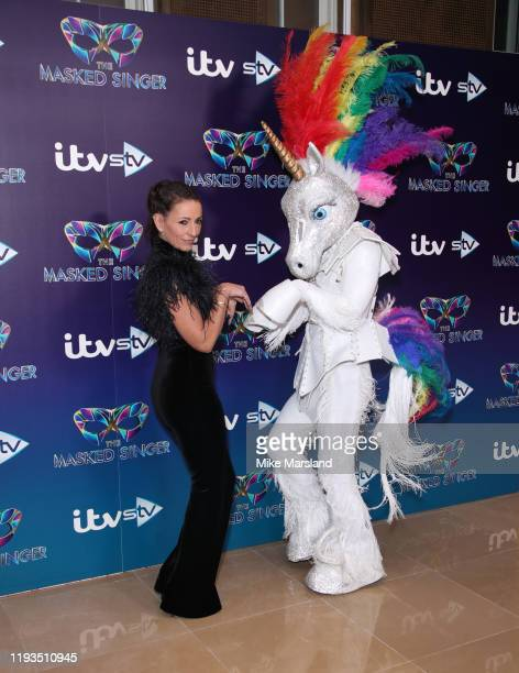 Davina McCall attends The Masked Singer photocall at The Mayfair Hotel on December 12 2019 in London England
