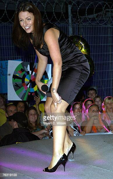 Davina McCall hosts a double eviction on the reality TV show Big Brother at Elstree Television Studios on August 24 2007 in London England