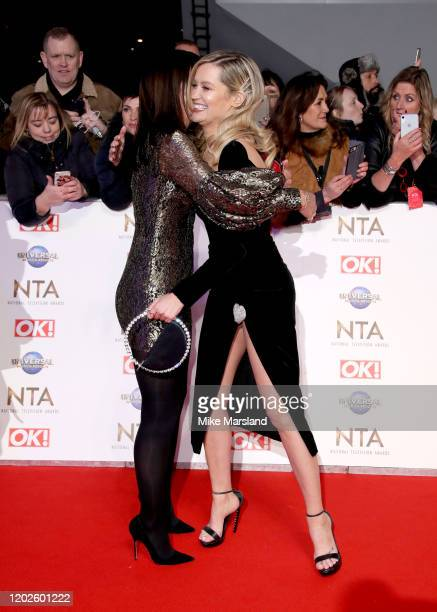 Davina McCall hugs Laura Whitmore at the National Television Awards 2020 at The O2 Arena on January 28, 2020 in London, England.
