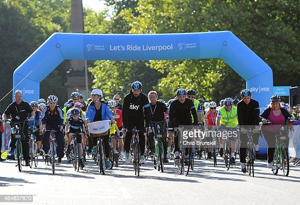 Davina McCall is joined by defending Tour of Britain champion Sir Bradley Wiggins and fellow Team Sky teammates Ben Swift and Ian Stannard at the...