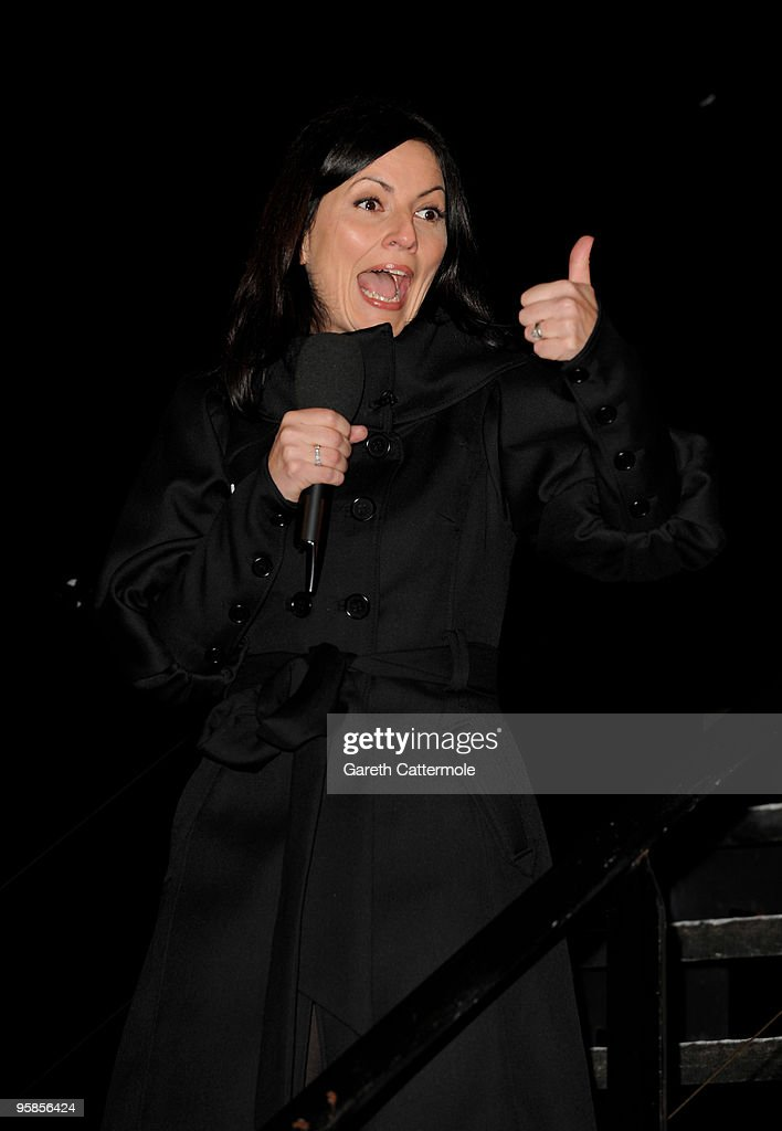 Davina McCall outside the Big Brother House before Lady Sovereign was the 3rd person evicted from the Celebrity Big Brother House at Elstree Studios on January 18, 2010 in Borehamwood, England.