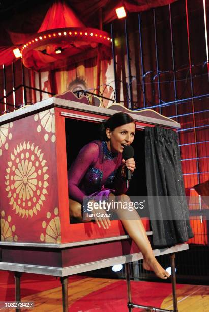 Davina McCall performs a magic trick during the 7th eviction from the Big Brother house at Elstree Studios on August 6 2010 in Borehamwood England