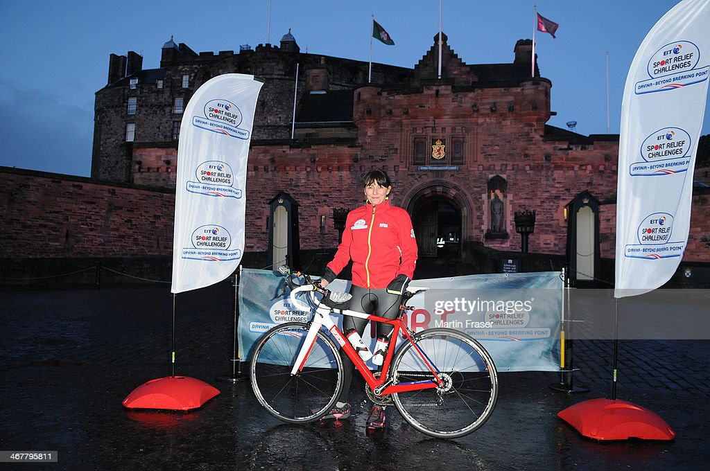 Davina McCall sets off on her BT Sport Relief Challenge in which she will attempt to cycle, swim and run 500 miles from Edinburgh to London in 7 days at Edinburgh Castle on February 8, 2014 in Edinburgh, Scotland.