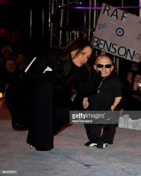 Davina McCall talks to Verne Troyer as he is evicted from the Big Brother House during the final of Celebrity Big Brother 2009 at Elstree Studios on...