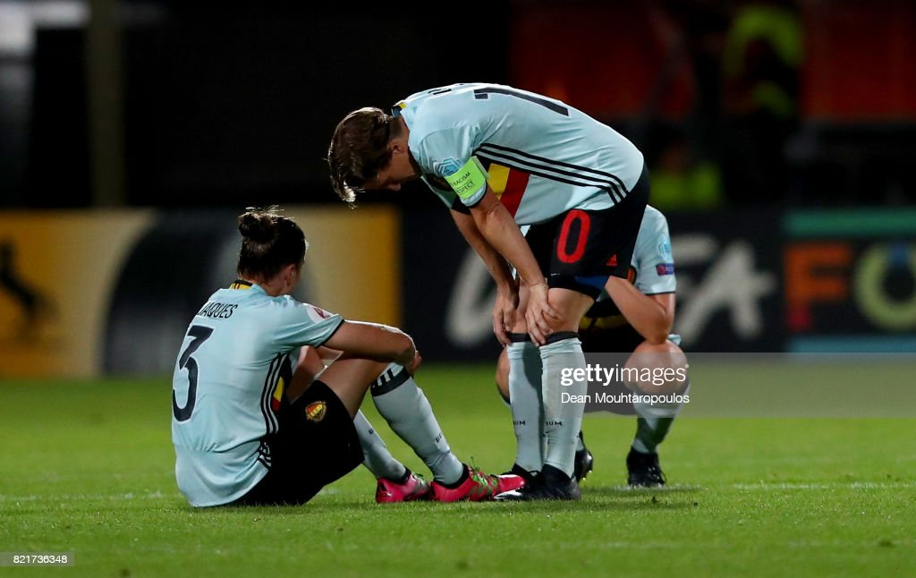 Davina Philtjens (L) of Belgium and Aline Zeler look dejected after the Group A match between Belgium and Netherlands during the UEFA Women's Euro 2017 at Koning Willem II Stadium on July 24, 2017 in Tilburg, Netherlands.