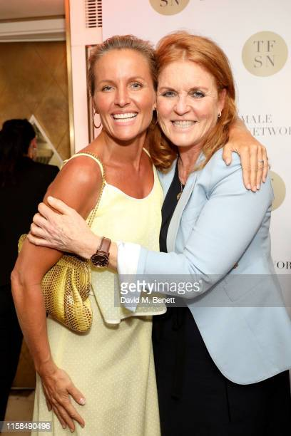 Davinia Taylor and Sarah Ferguson Duchess of York attend the UK launch of The Female Social Network at The Ivy on June 26 2019 in London England...
