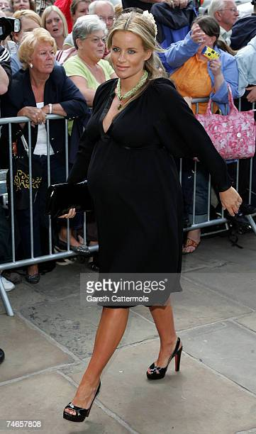 Davinia Taylor arrives at Manchester Cathedral for the wedding of Manchester United and England footballer Gary Neville and Emma Hadfield on June 16...