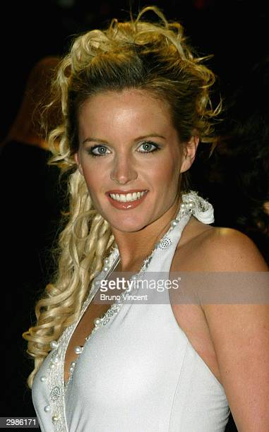 Davinia Taylor arrives at the The Orange British Academy Film Awards at the Odeon Leicester Square on February 15 2004 in London wearing the...