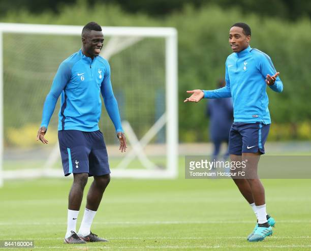 Davinson Sanchez and Kyle WalkerPeters of Tottenham during the Tottenham Hotspur training session at Tottenham Hotspur Training Centre on September 8...