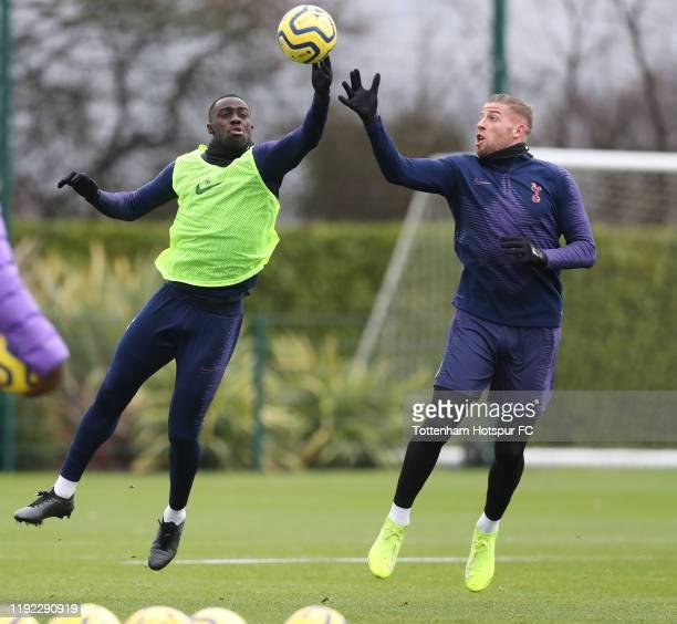 Davinson Sanchez and Toby Alderweireld of Tottenham Hotspur during the Tottenham Hotspur training session at Tottenham Hotspur Training Centre on...