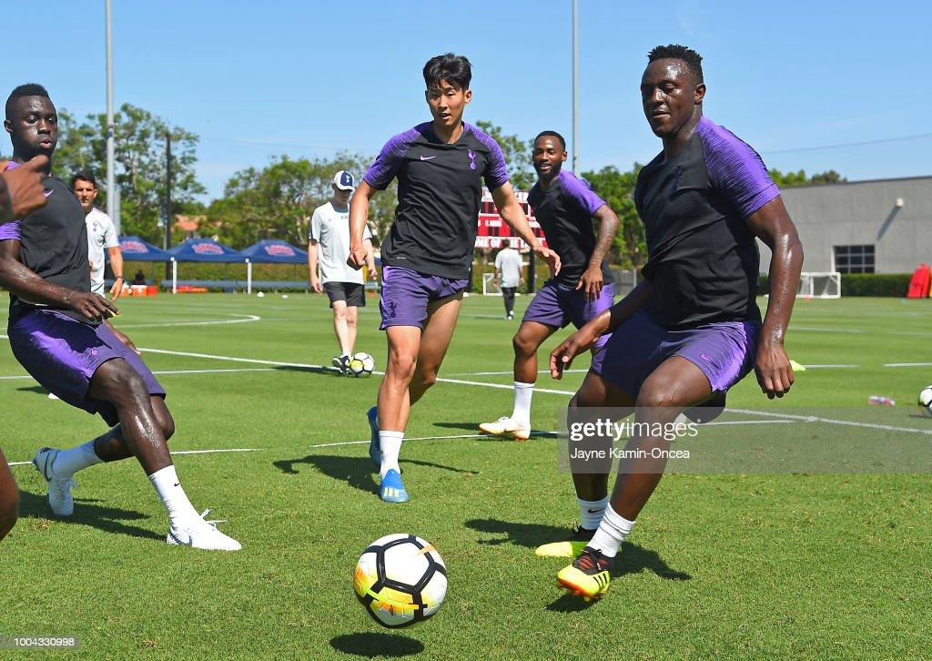 Davinson Sanchez #6, Heung-Min Son #7, and Victor Wanyama #13 of Tottenham Hotspur FC handle the ball during practice at Loyola Marymount University on July 23, 2018 in Playa del Rey, California.