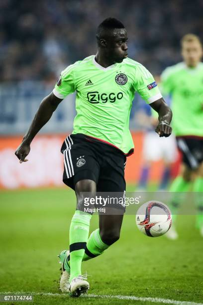 Davinson Sanchez of Ajax controls the ball during the UEFA Europa League quarter final second leg match between FC Schalke 04 and Ajax Amsterdam at...