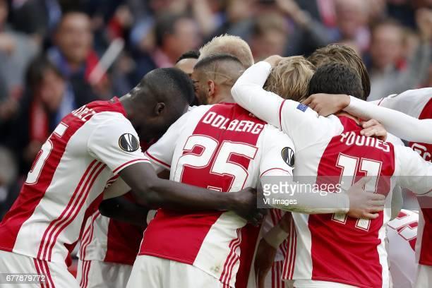 Davinson Sanchez of Ajax Kenny Tete of Ajax Kasper Dolberg of AjaxAmin Younes of Ajax Lasse Schone of Ajaxduring the UEFA Europa League semi final...