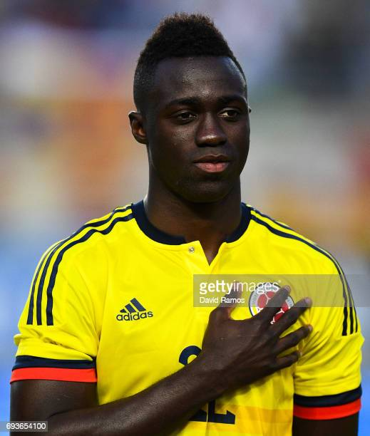 Davinson Sanchez of Colombia looks on during a friendly match between Spain and Colombia at La Nueva Condomina stadium on June 7 2017 in Murcia Spain
