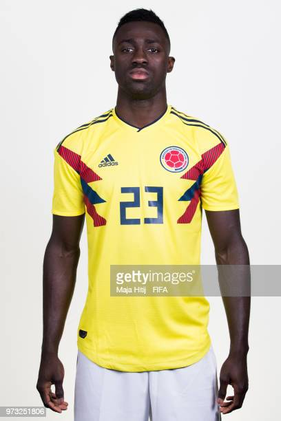 Davinson Sanchez of Colombia poses for a portrait during the official FIFA World Cup 2018 portrait session at Kazan Ski Resort on June 13 2018 in...