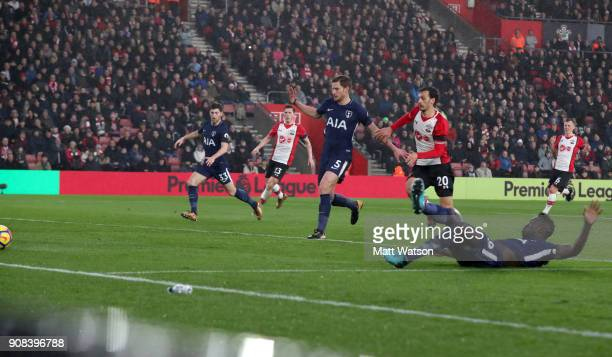 Davinson Sanchez of Tottenham converts the ball into his own net during the Premier League match between Southampton and Tottenham Hotspur at St...