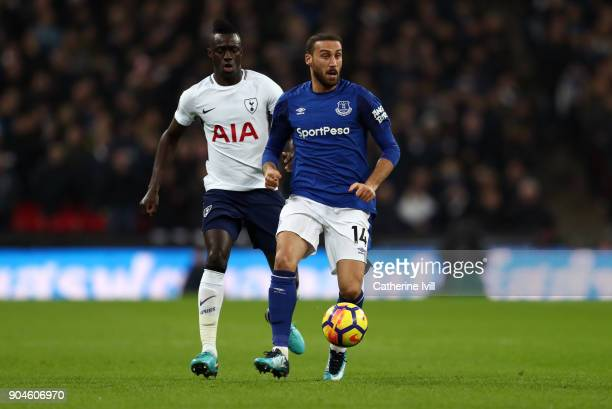 Davinson Sanchez of Tottenham Hotspur and Cenk Tosun of Everton during the Premier League match between Tottenham Hotspur and Everton at Wembley...