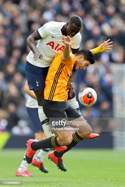 Davinson Sanchez of Tottenham Hotspur and Raul Jimenez of Wolverhampton Wanderers battle for possession during the Premier League match between...