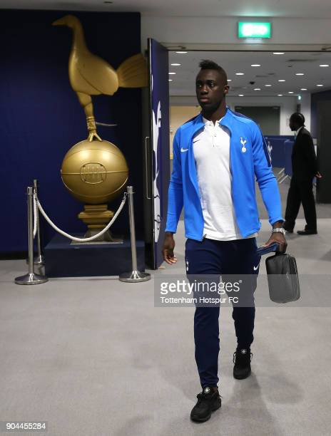 Davinson Sanchez of Tottenham Hotspur arrives at the stadium prior to the Premier League match between Tottenham Hotspur and Everton at Wembley...
