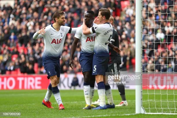 Davinson Sanchez of Tottenham Hotspur celebrates with teammates after scoring his team's first goal during the Premier League match between Tottenham...