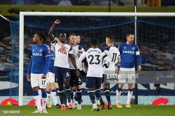 Davinson Sanchez of Tottenham Hotspur celebrates with Toby Alderweireld, Steven Bergwijn and Erik Lamela after scoring his team's first goal The...