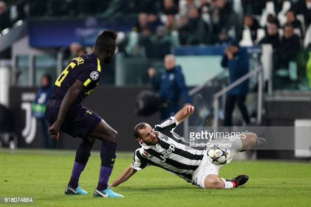 Davinson Sanchez of Tottenham Hotspur Fc and Giorgio Chiellini of Juventus Fc in action during the UEFA Champions League round of 16 first leg match...