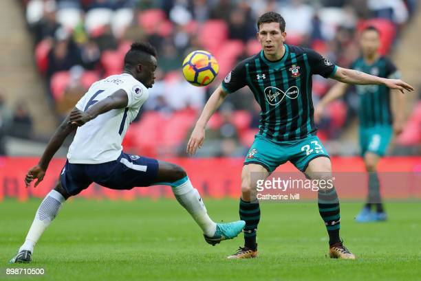 Davinson Sanchez of Tottenham Hotspur is put under pressure by PierreEmile Hojbjerg of Southampton during the Premier League match between Tottenham...