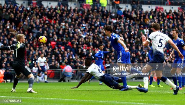 Davinson Sanchez of Tottenham Hotspur scores his teams first goal during the Premier League match between Tottenham Hotspur and Leicester City at...