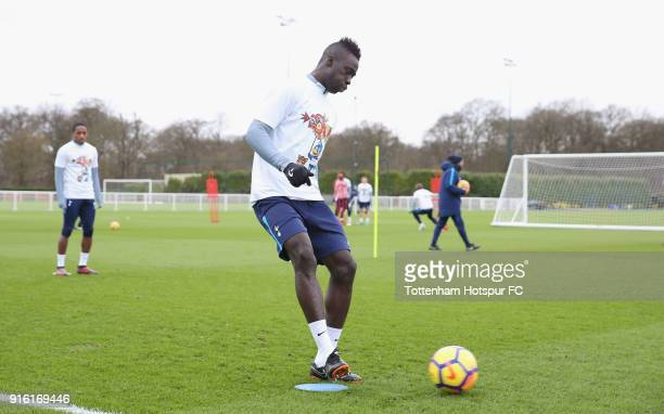 Davinson Sanchez of Tottenham Hotspur trains in a Chinese New Year tshirt ahead of the north london derby during the Tottenham Hotspur training...