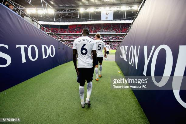 Davinson Sanchez of Tottenham Hotspur walks out for the second half during the Premier League match between Tottenham Hotspur and Swansea City at...