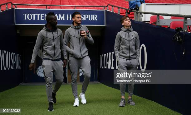 Davinson Sanchez Paulo Gazzaniga and Juan Foyth of Tottenham Hotspur arrive at the stadium ahead of The Emirates FA Cup Fifth Round Replay match...