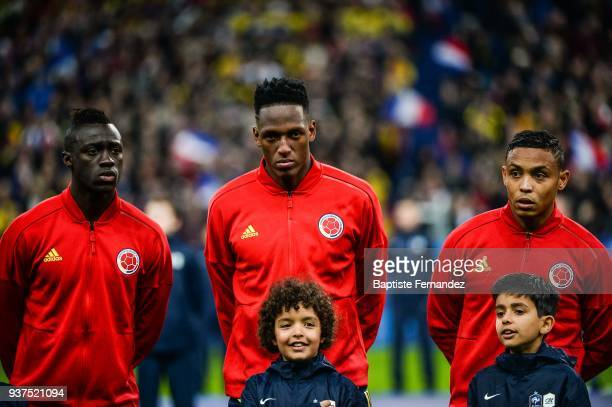 Davinson Sanchez Yerry Mina and Luis Fernando Muriel of Colombia during the International friendly match between France and Colombia on March 23 2018...