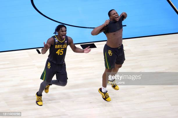 Davion Mitchell and Mark Vital of the Baylor Bears celebrate after The Baylor Bears defeated the Gonzaga Bulldogs in the National Championship game...