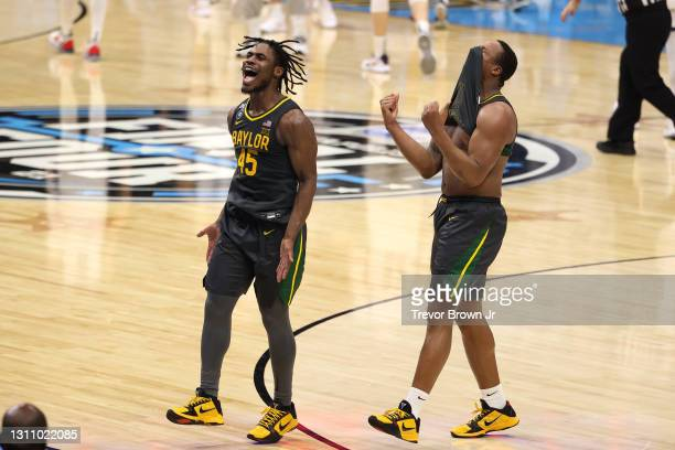 Davion Mitchell and Mark Vital of the Baylor Bears celebrate their win against the Gonzaga Bulldogs in the National Championship game of the 2021...