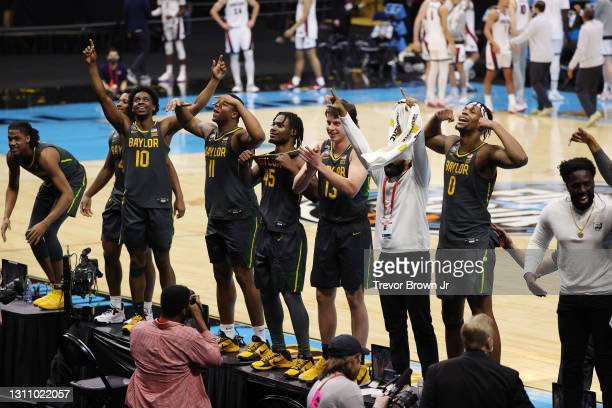 Davion Mitchell of the Baylor Bears celebrates with his teammates after defeating the Gonzaga Bulldogs in the National Championship game of the 2021...
