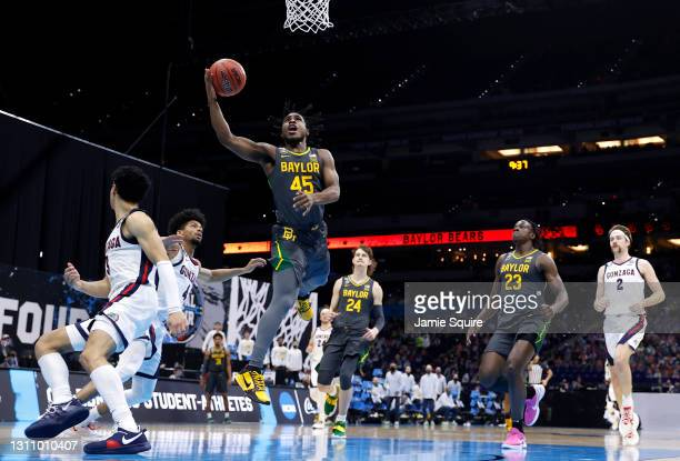 Davion Mitchell of the Baylor Bears goes to the basket against the Gonzaga Bulldogs in the National Championship game of the 2021 NCAA Men's...