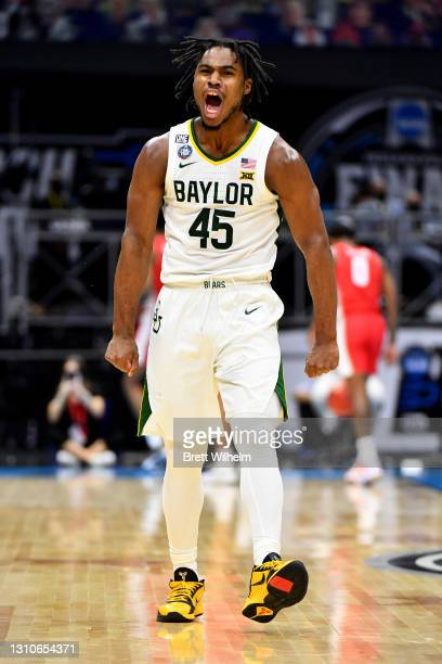 Davion Mitchell of the Baylor Bears reacts during the first half of their game against the Houston Cougars in the Final Four semifinal game of the...