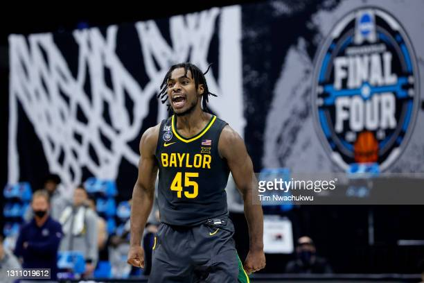 Davion Mitchell of the Baylor Bears reacts during the National Championship game of the 2021 NCAA Men's Basketball Tournament against the Gonzaga...