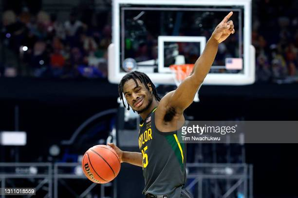 Davion Mitchell of the Baylor Bears reacts in the second half of the National Championship game of the 2021 NCAA Men's Basketball Tournament against...