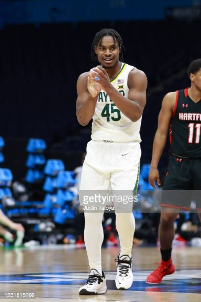 Davion Mitchell of the Baylor Bears reacts to a play during the game against the Hartford Hawks in the first round of the 2021 NCAA Division I Mens...