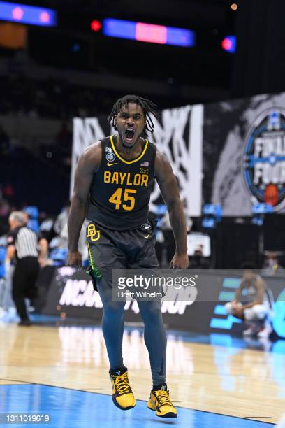 Davion Mitchell of the Baylor Bears reacts to a play during the game against the Gonzaga Bulldogs in the National Championship game of the 2021 NCAA...