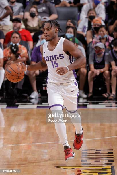 Davion Mitchell of the Sacramento Kings dribbles the ball against the Los Angeles Lakers during the 2021 California Classic Summer League on August...