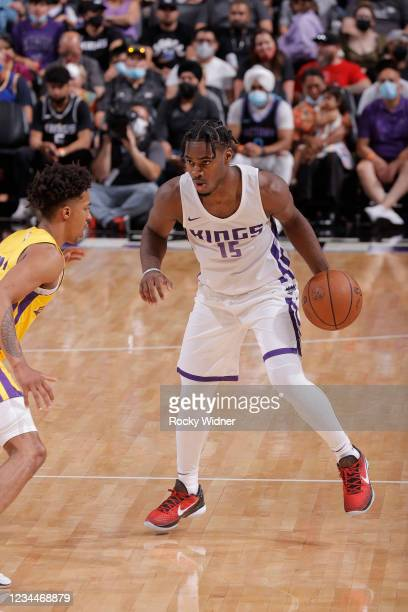 Davion Mitchell of the Sacramento Kings handles the ball against the Los Angeles Lakers during the 2021 California Classic Summer League on August 4,...