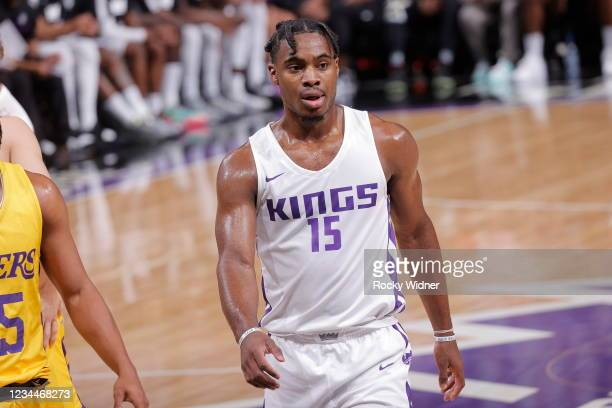 Davion Mitchell of the Sacramento Kings looks on during the 2021 California Classic Summer League on August 4, 2021 at Golden 1 Center in Sacramento,...