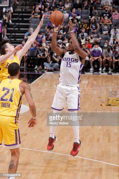 Davion Mitchell of the Sacramento Kings shoots the ball against the Los Angeles Lakers during the 2021 California Classic Summer League on August 4,...