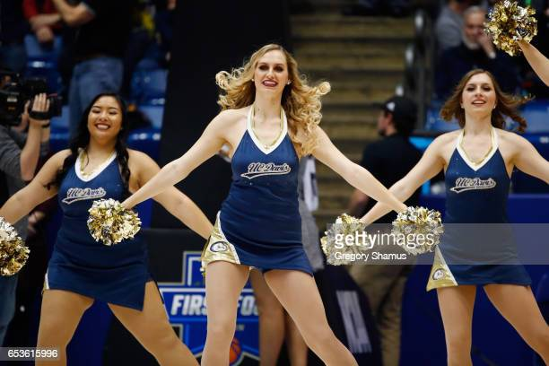 Davis Aggies cheerleaders perform during the First Four game between the North Carolina Central Eagles and the UC Davis Aggies in the 2017 NCAA Men's...