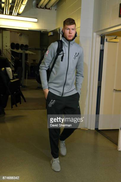 Davis Bertans of the San Antonio Spurs arrives before the game against the Minnesota Timberwolves on November 15 2017 at Target Center in Minneapolis...