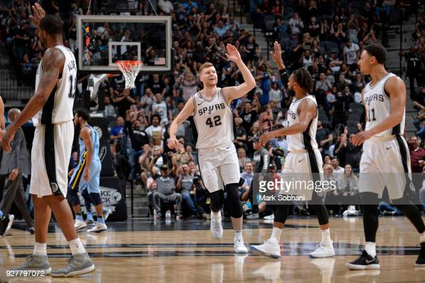 Davis Bertans of the San Antonio Spurs celebrates a score against the Memphis Grizzlies on March 5 2018 at the ATT Center in San Antonio Texas NOTE...